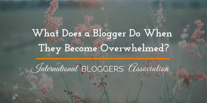 What Does a Blogger Do When They Become Overwhelmed?