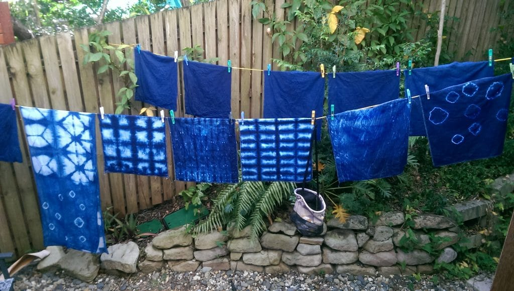 A successful production line of Indigo dyed pieces of linen for cushions, napkins and scarves.