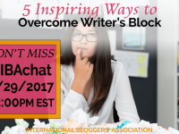 In this week's #IBAChat, we'll discuss 5 inspiring ways to help you overcome writer's block for bloggers. Find inspiration, tips, and tricks with us!