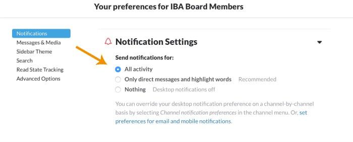 Slack Notification Settings