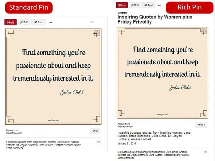 standard pin versus rich pin