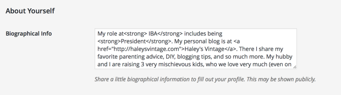Paste into Biographical Info