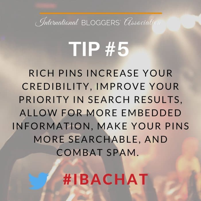 Pinterest tips from #IBAchat!  The weekly IBA Twitter Chats are a great opportunity to network with fellow bloggers from around the world as well as discuss business topics important to bloggers. Network, Chat, and Learn with the International Bloggers' Association every Wednesday at noon EDT.