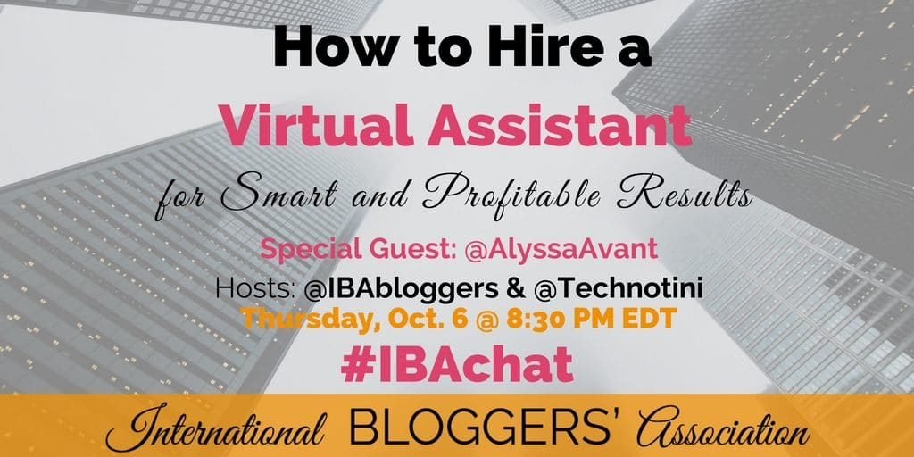 The weekly IBA Twitter Chats are a great opportunity to network with fellow bloggers from around the world as well as discuss business topics important to bloggers. Network, Chat, and Learn with the International Bloggers' Association every Thursday at 8:30 PM EDT.