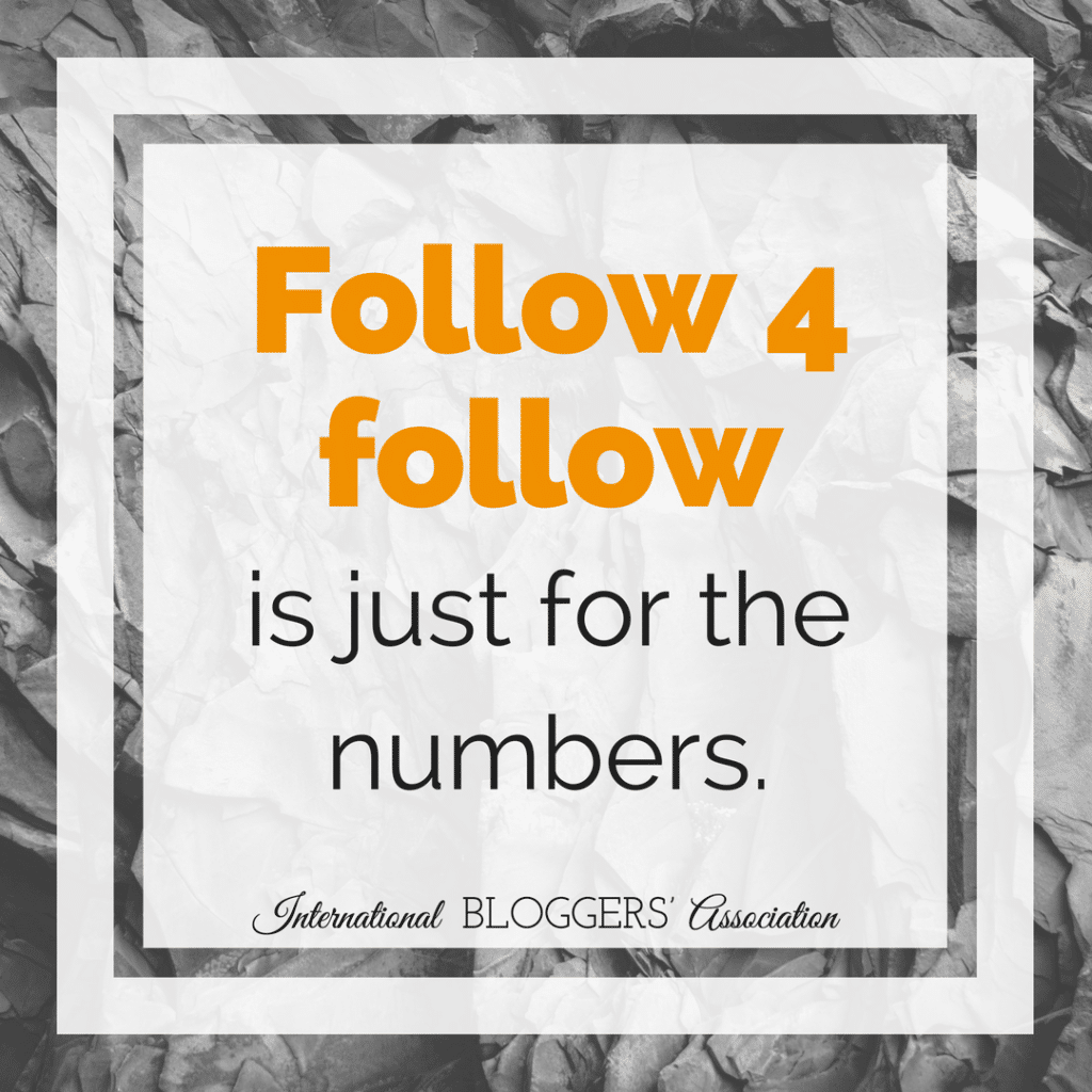 Follow 4 follow is just for the numbers.