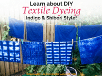 Learn DIY textile dyeing the Indigo and Shibori way with Marijke from Easy Done. It is a beautiful look for natural fabrics like cotton and linen.