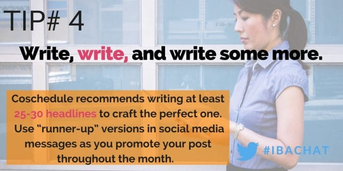 In this week's #IBAChat, we'll discuss 5 simple strategies to help you create the perfect headline every time. We'll take the guess-work out so you can focus on writing effective, headlines that will grab your readers' attention! Blogging tips| blog title tips