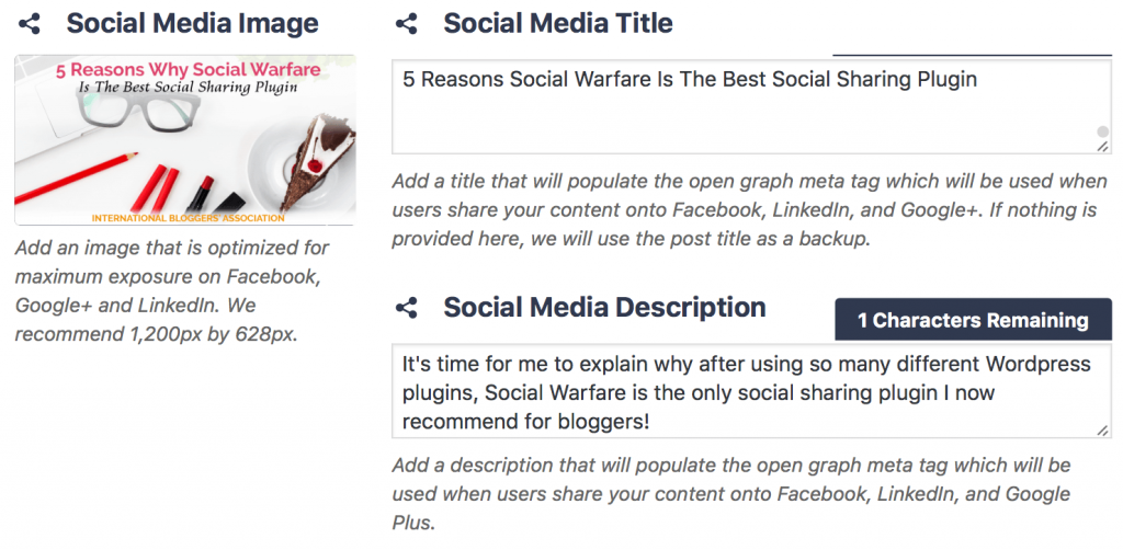 Social Warfare's dedicated Social Media Image and description is one reason this is the only WordPress plugin I recommend for bloggers.
