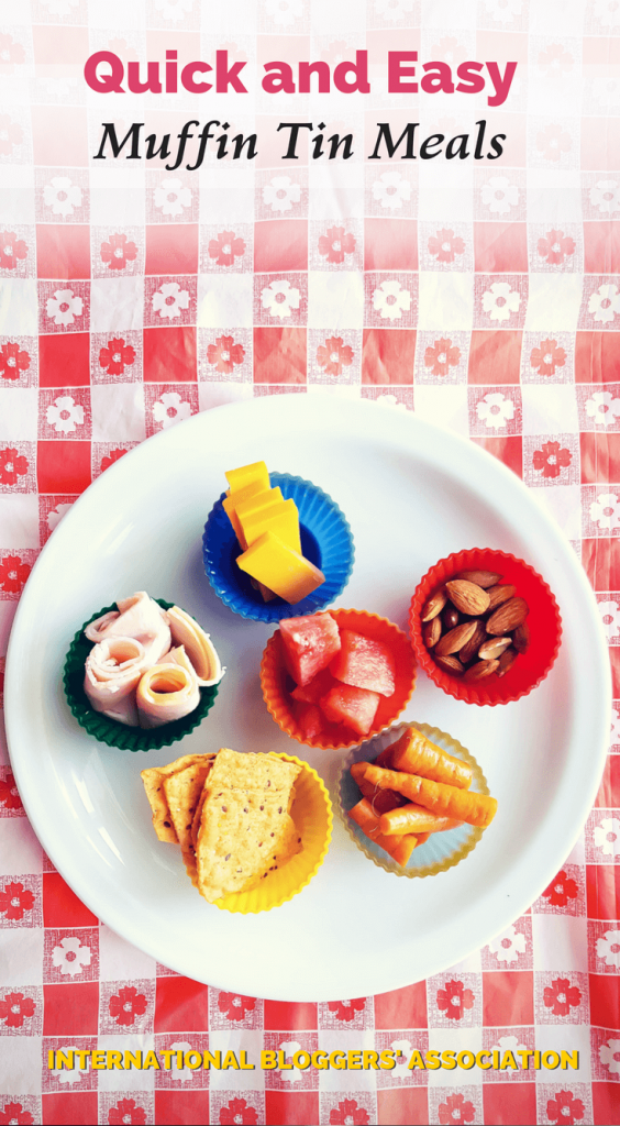 """snacks in cupcake wrappers with text overlay """"Quick and Easy Muffin Tin Meals"""""""