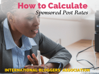 "business woman at computer with text overlay ""How to Calculate Sponsored Post Rates."""