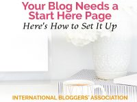 Coffee cup with coffee and white flowers in vase with text say 'Your Blog Needs a Start Here Page - Here's How to Set It Up'