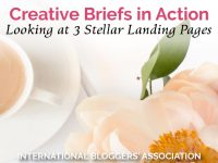 Coffee Cup and flower with text saying 'Creative Briefs in Action - Looking at 3 Stellar Landing Pages'