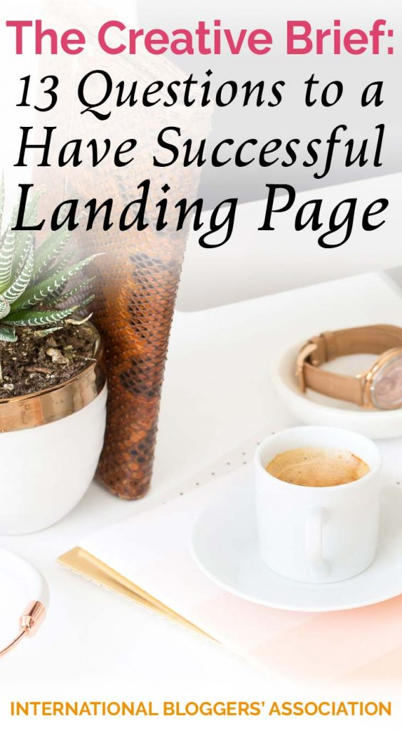 Office desk with succulent and watch showing text The Creative Brief: 13 Questions to Have a Successful Landing Page