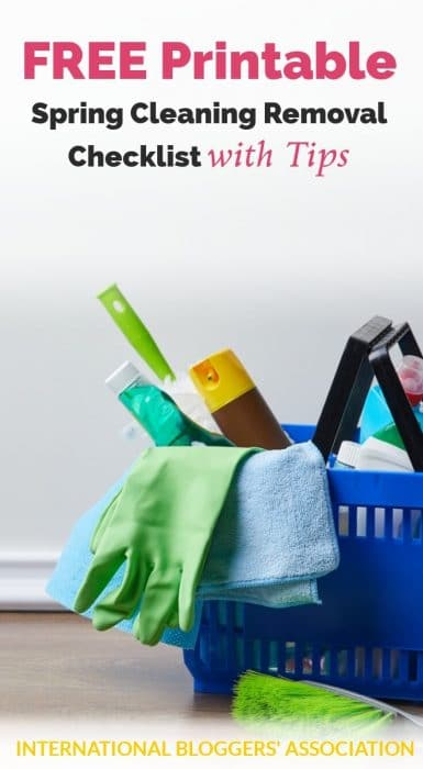 "basket of cleaning supplies and text ""FREE printable spring cleaning removal checklist with tips"""