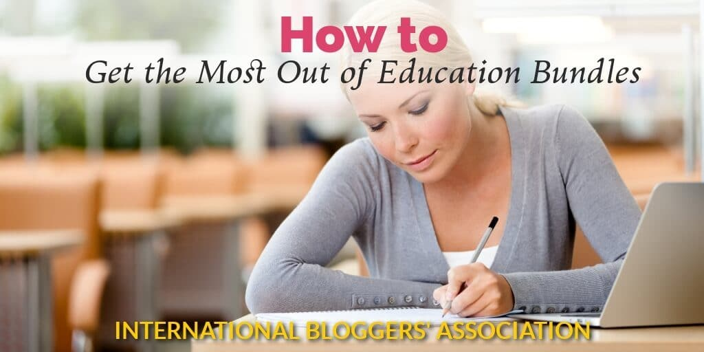 "woman writing with text overlay ""How to get the most out of Education Bundles"""