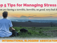 "man in lotus position with text overlay ""5 tips for managing stress when you are having a terrible horrible no good very bad day."""