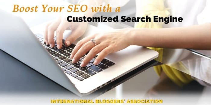 "hands typing on a laptop with text overlay ""Boost your SEO with a Customized Search Engine"
