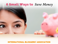 "woman peeking at piggy bank on table with text overlay ""6 small ways to save money"""