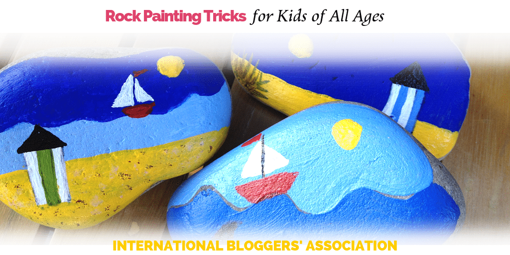 "painted rocks on a table with text overlay ""Rock Painting Tricks for Kids of All Ages"""