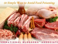 """various uncooked meats and spices on wooden background with text overlay """"10 simple ways to avoid food poisoning"""""""