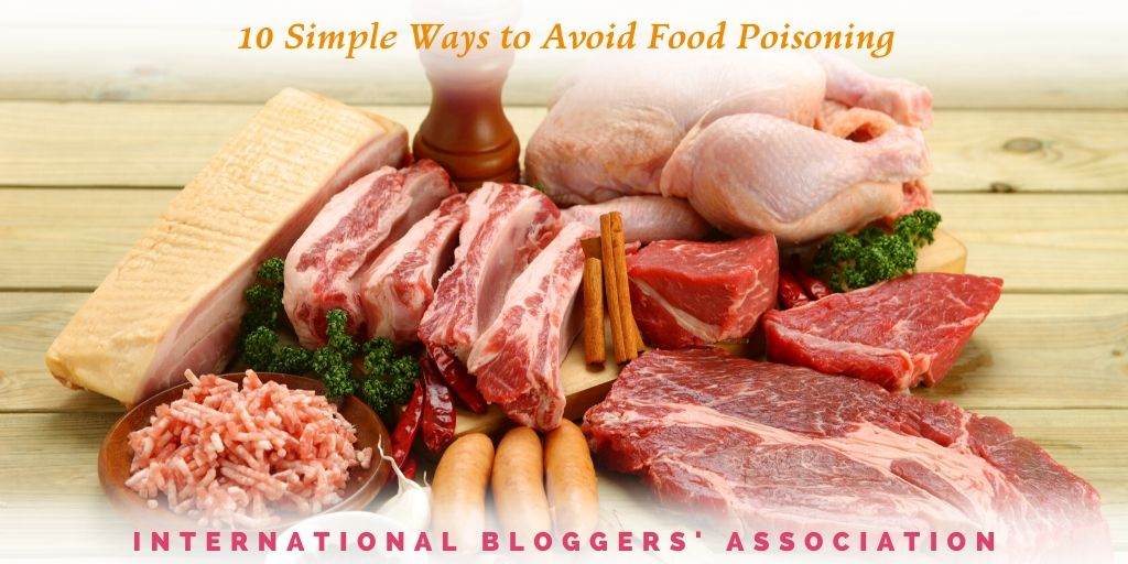 "various uncooked meats and spices on wooden background with text overlay ""10 simple ways to avoid food poisoning"""