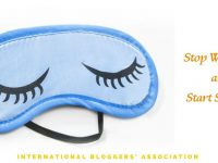 "a sleep mask with text overlay ""Stop Worrying and Start Sleeping"""